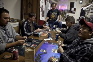 This is easily the most flattering picture of people playing Magic that I could find.
